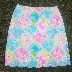 Lilly Pultizer Size 10 Skirt Scalloped Preppy